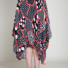abstract printed polka dot black and red skirt- back