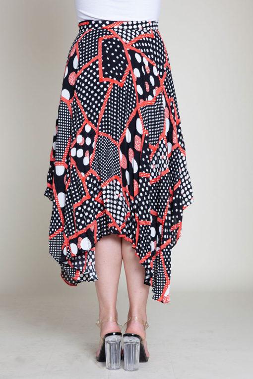 abstract printed polka dot black and red skirt- back