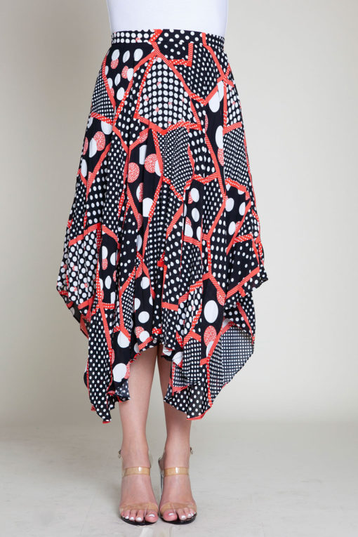 abstract printed polka dot black and red skirt- front