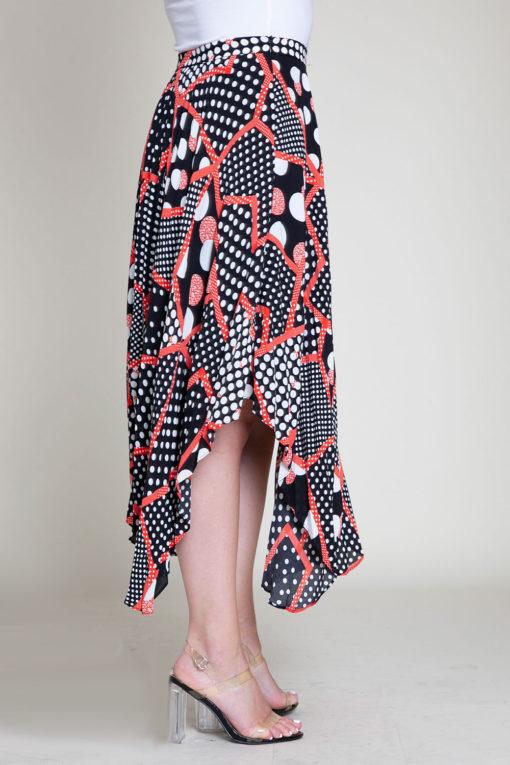 abstract printed polka dot black and red skirt- side