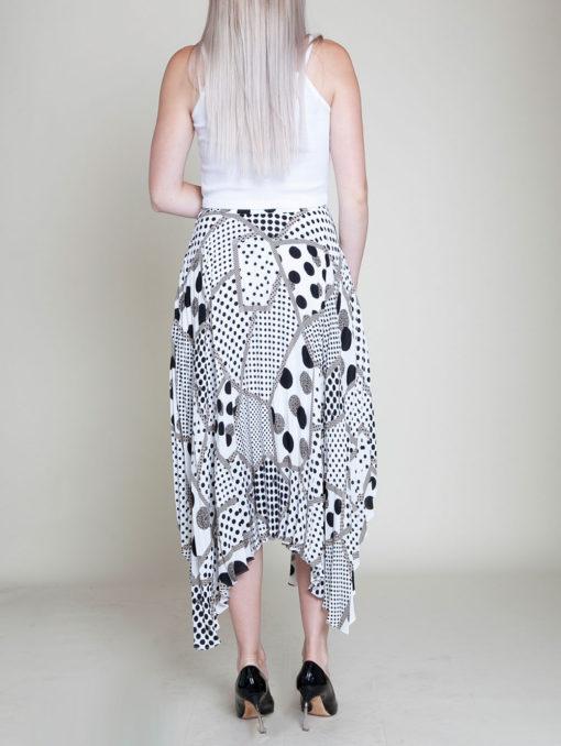 abstract printed polka dot black and white skirt- back