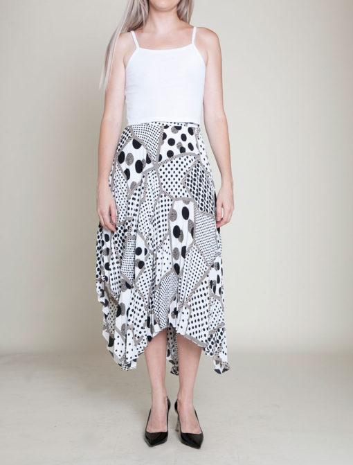 abstract printed polka dot black and white skirt- front