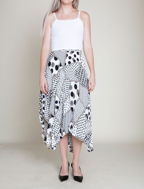 abstract printed polka dot black and white skirt- front