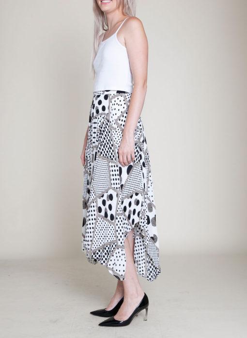abstract printed polka dot black and white skirt- side