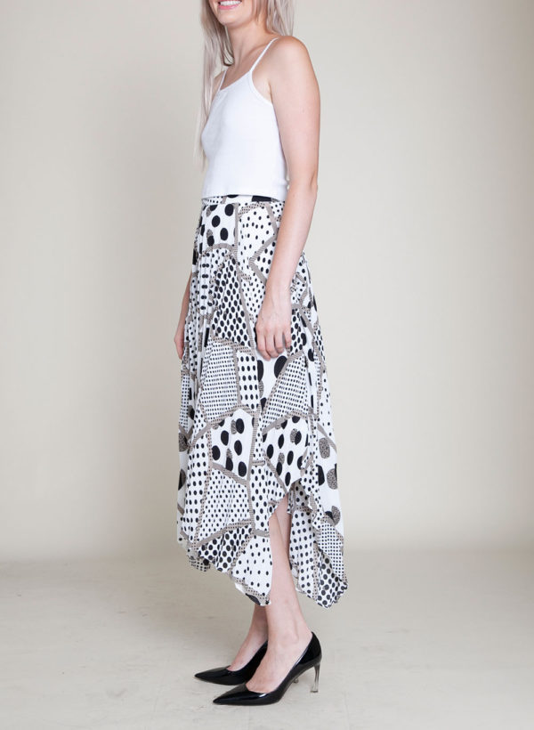abstract printed polka dot black and white skirt- side