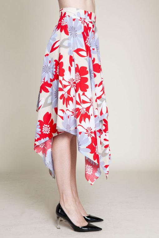 red floral print skirt- side