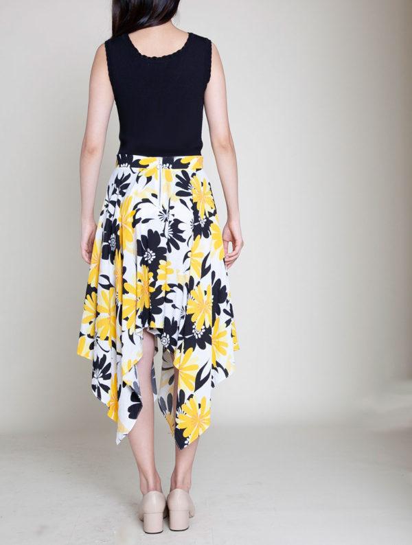 yellow floral print skirt- back