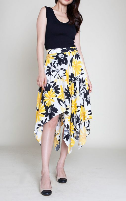 yellow floral print skirt- front