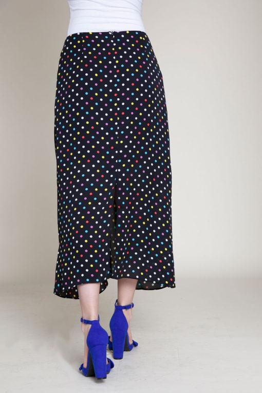 polka dot black skirt- back