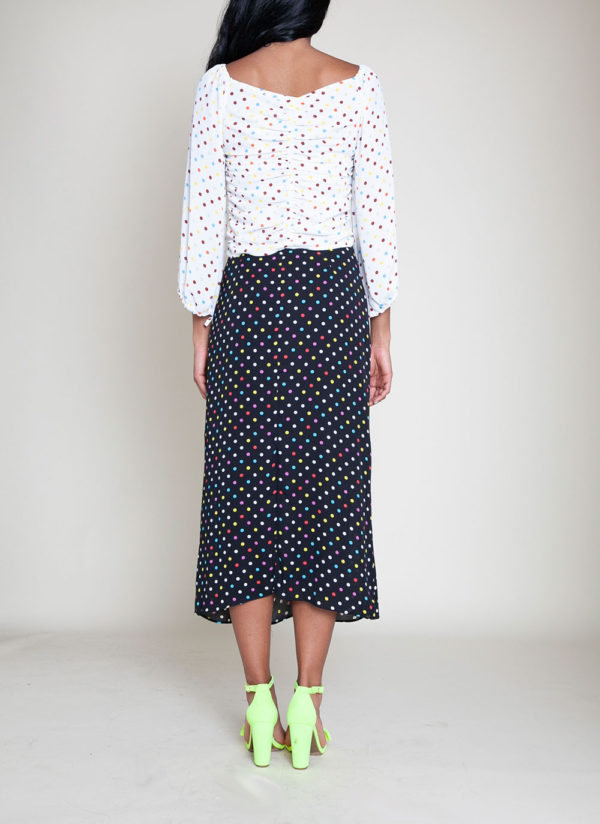 polka dot white top black skirt- back