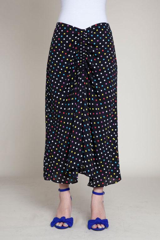 polka dot black skirt- front