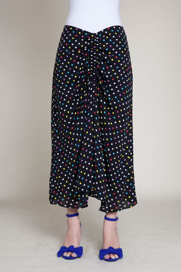 polka dot black skirt- front
