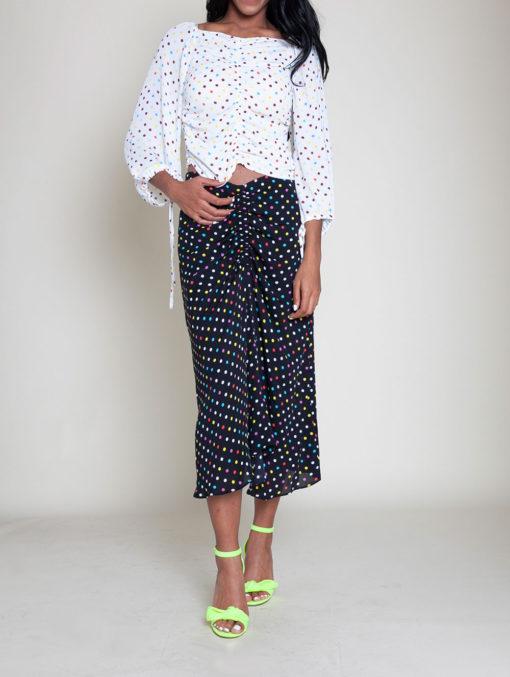 polka dot white top black skirt- front
