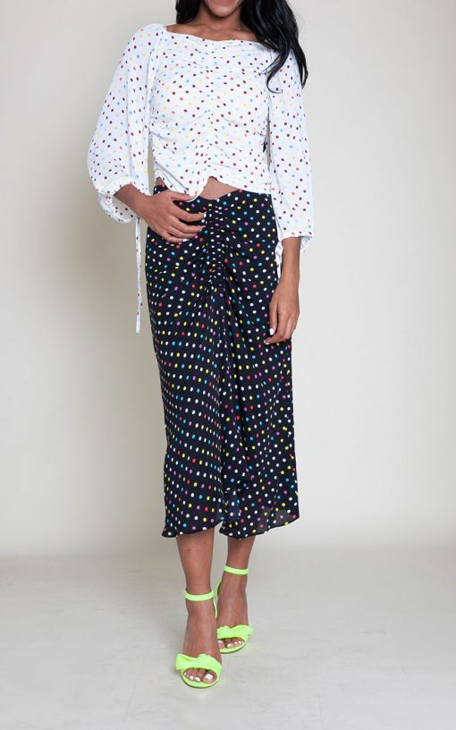 polka dot white top black skirt- front