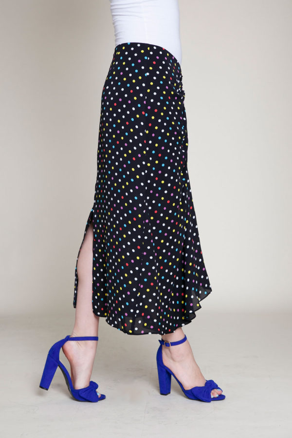 polka dot black skirt- side