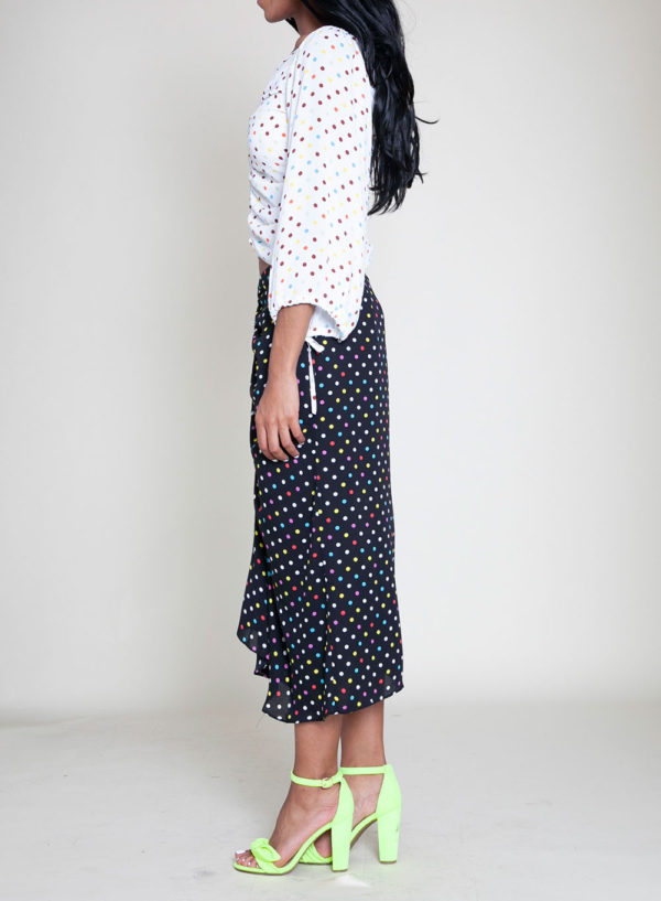 polka dot white top black skirt- side