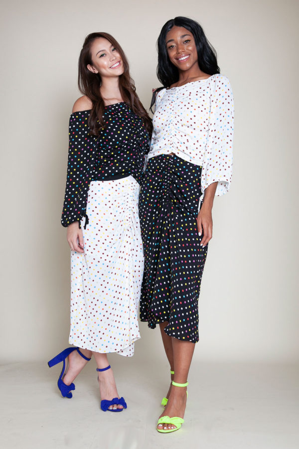 polka dot black and white skirt and top- front