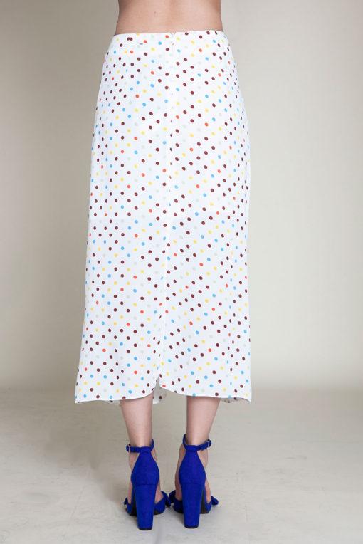 polka dot white skirt- back