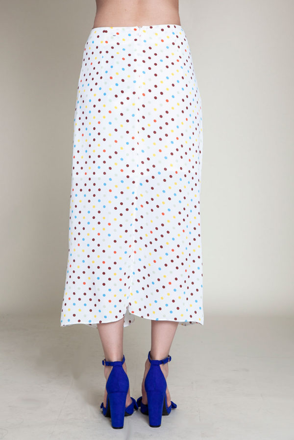 polka dot white skirt- back