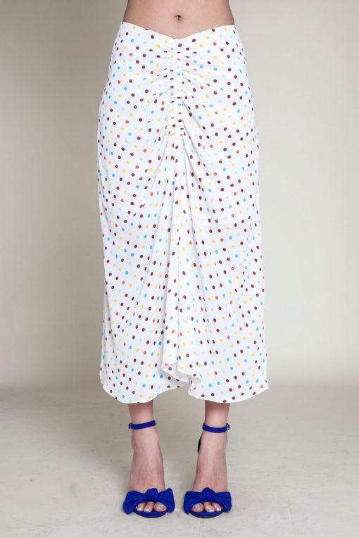 polka dot white skirt- front