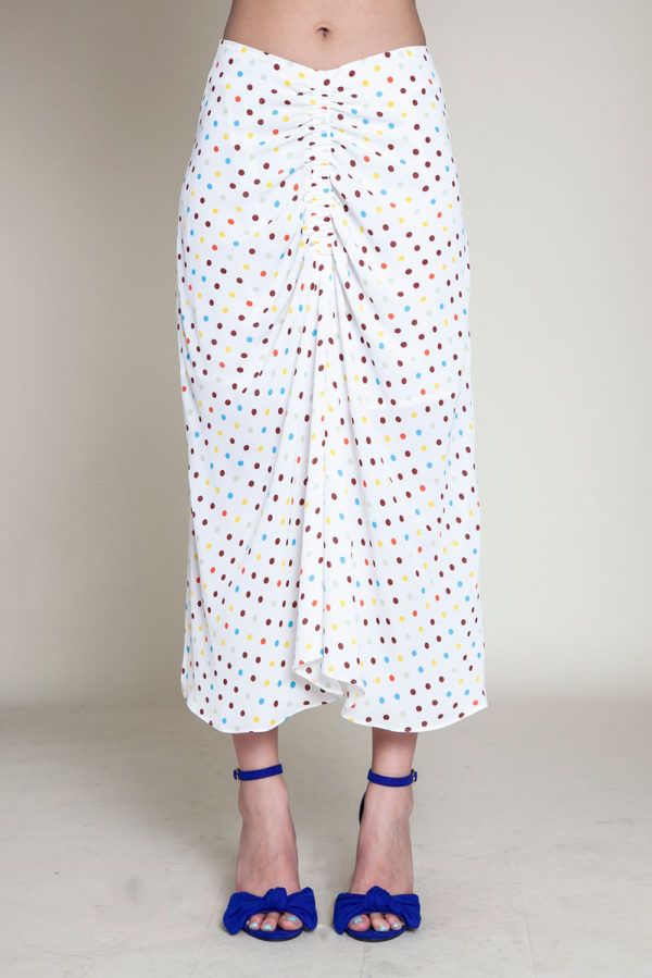 polka dot white skirt- front