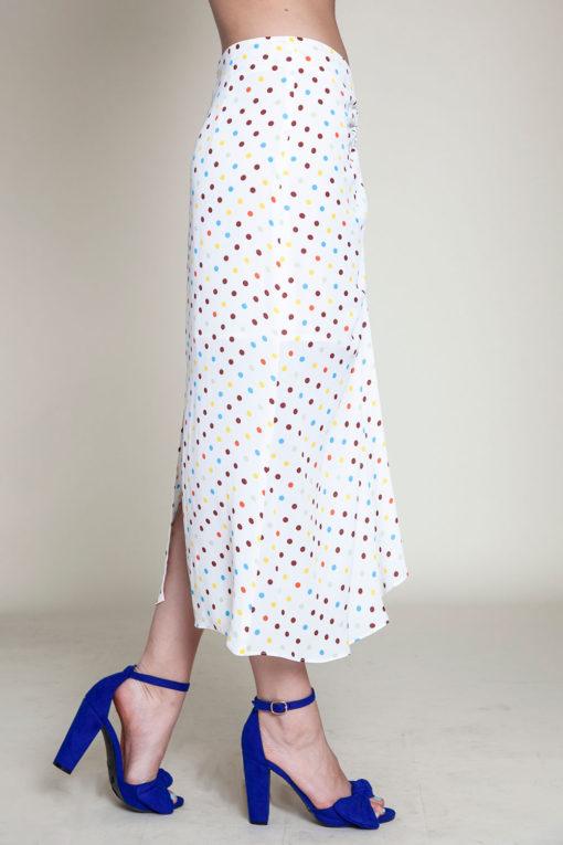 polka dot white skirt- side