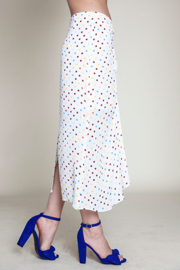 polka dot white skirt- side