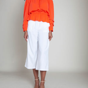 coral elastic bust top- front