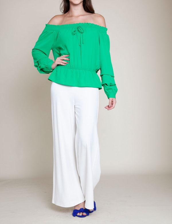 green elastic bust top- front