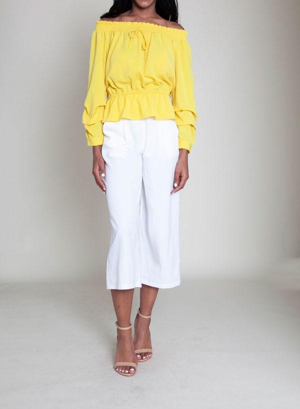yellow elastic bust top- front