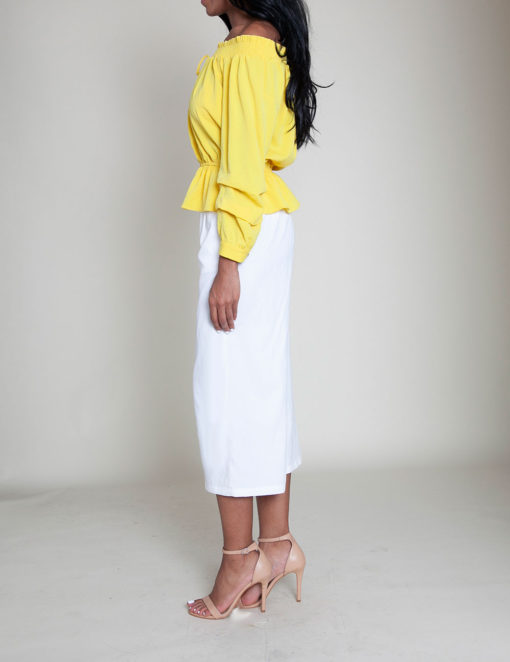 yellow elastic bust top- side