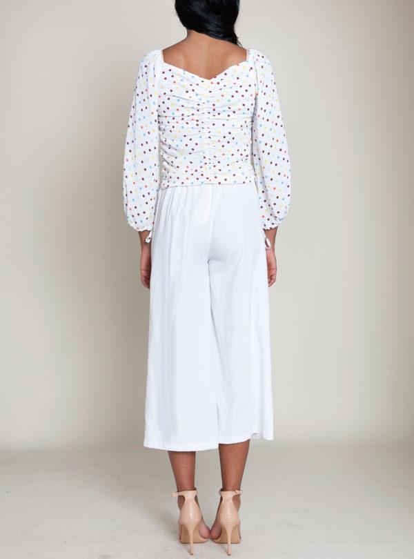 polka dot white top- back