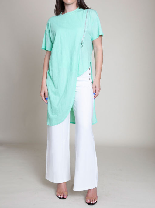 zip front green top- front