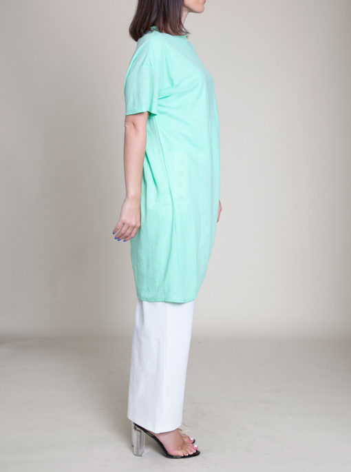 zip front green top- side