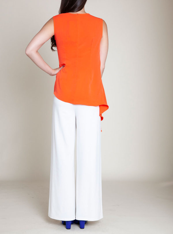 gathered coral sleeveless top- back