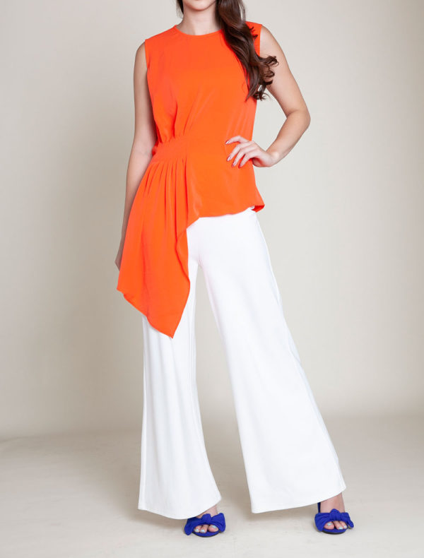 gathered coral sleeveless top- front
