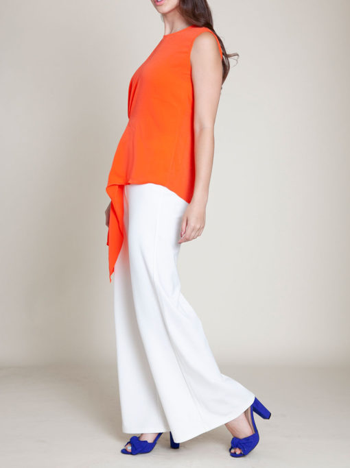 gathered coral sleeveless top- side