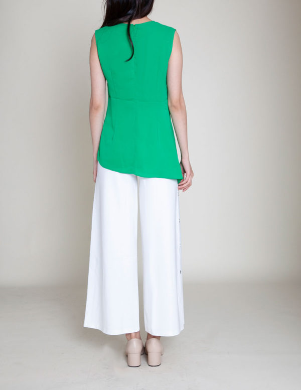 gathered green sleeveless top- back