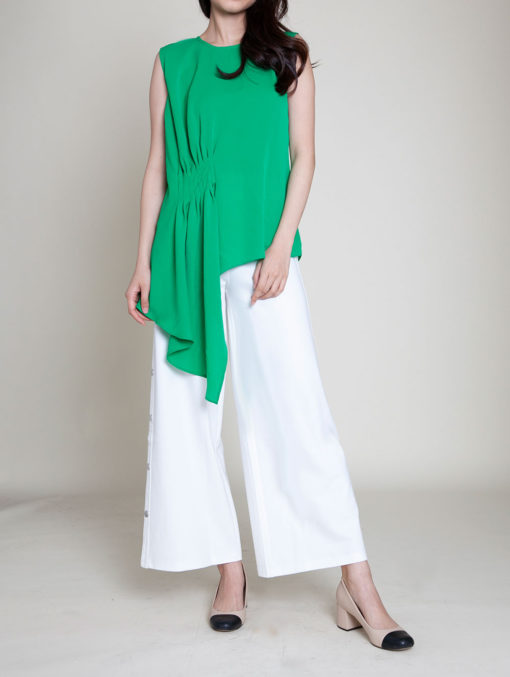 gathered green sleeveless top- front