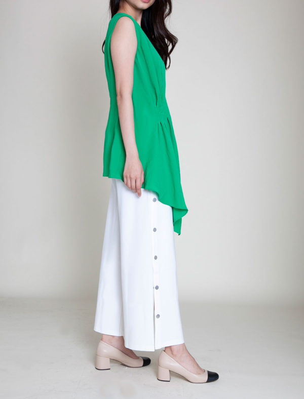 gathered green sleeveless top- side