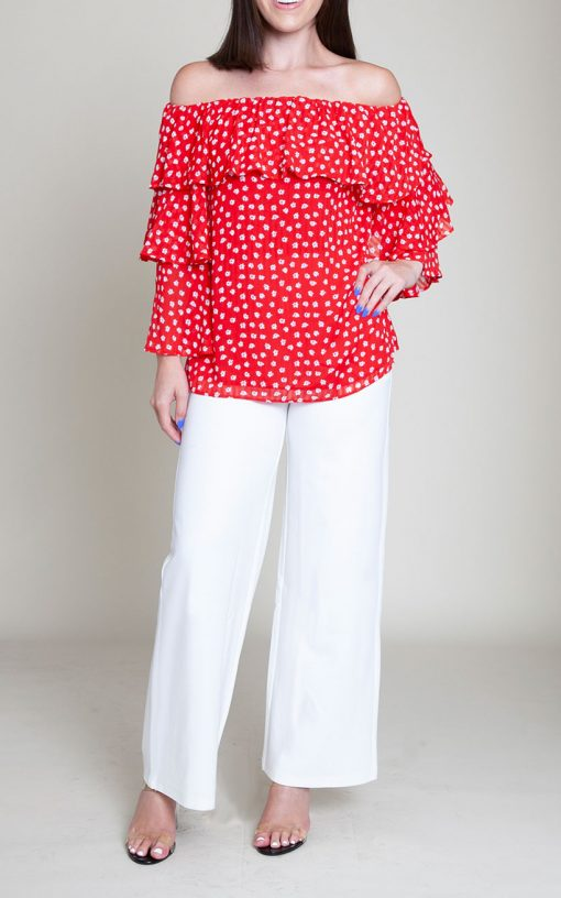 red floral printed top- front