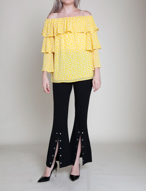 daisy printed yellow ruffle top- front