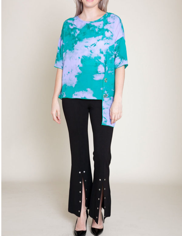 blue and purple printed grommet top- front
