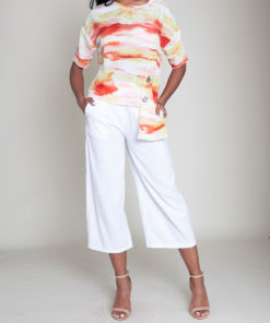 yellow and orange printed grommet top- front