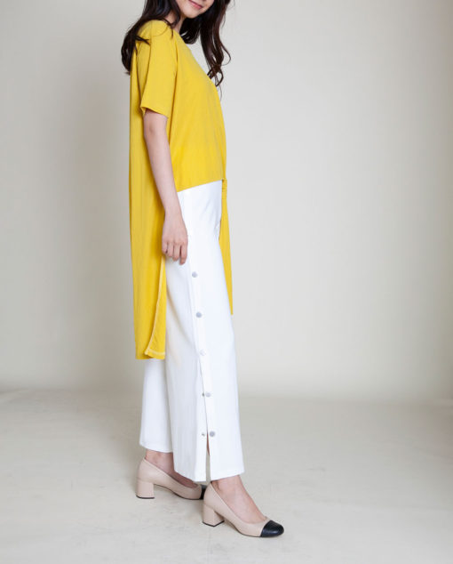 mustard yellow high low top- side