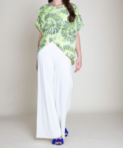 green printed top- front