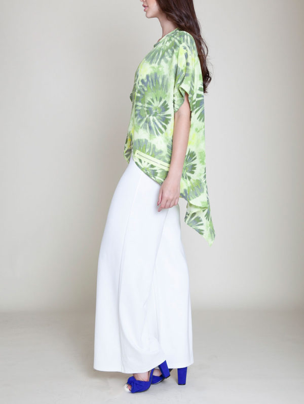 green printed top- side