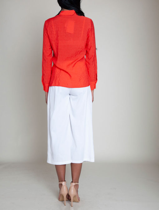 coral gathered front blouse- back