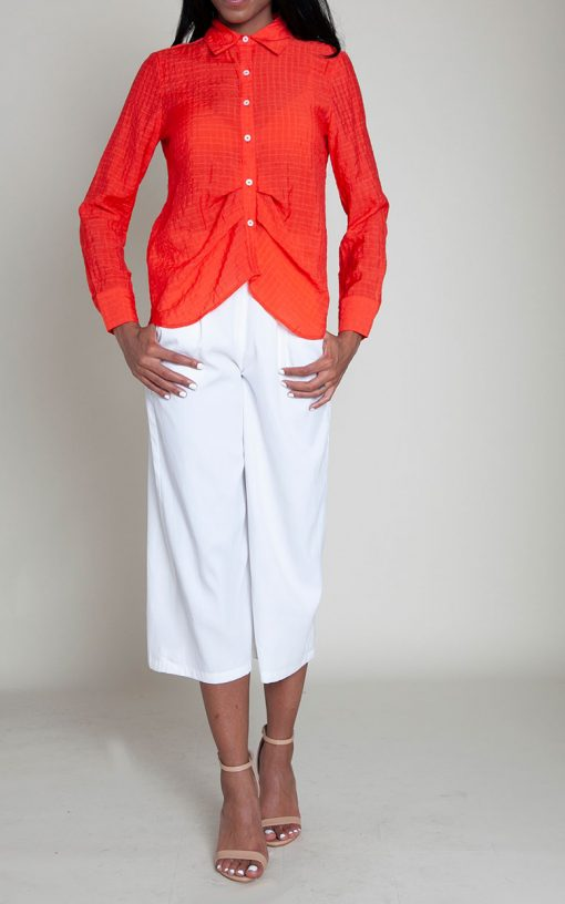 coral gathered front blouse- front