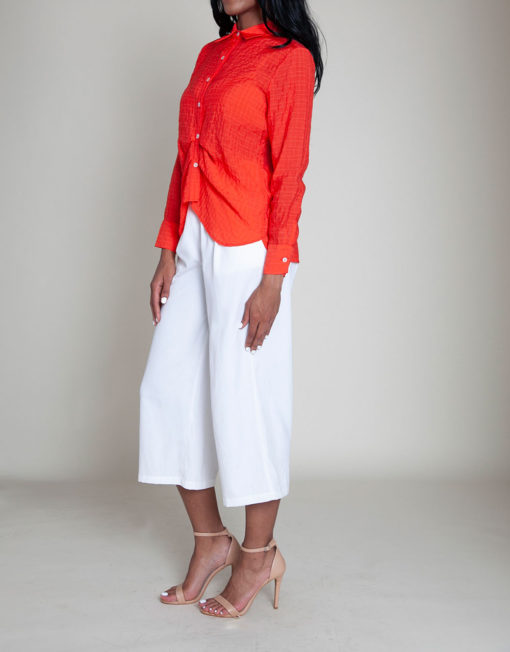 coral gathered front blouse- side